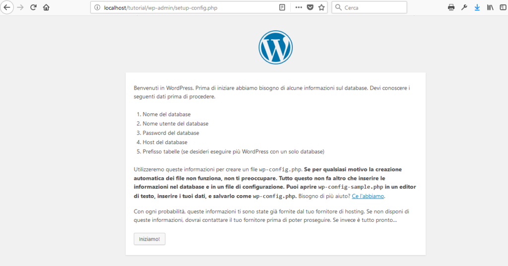 primo step installazione wordpress