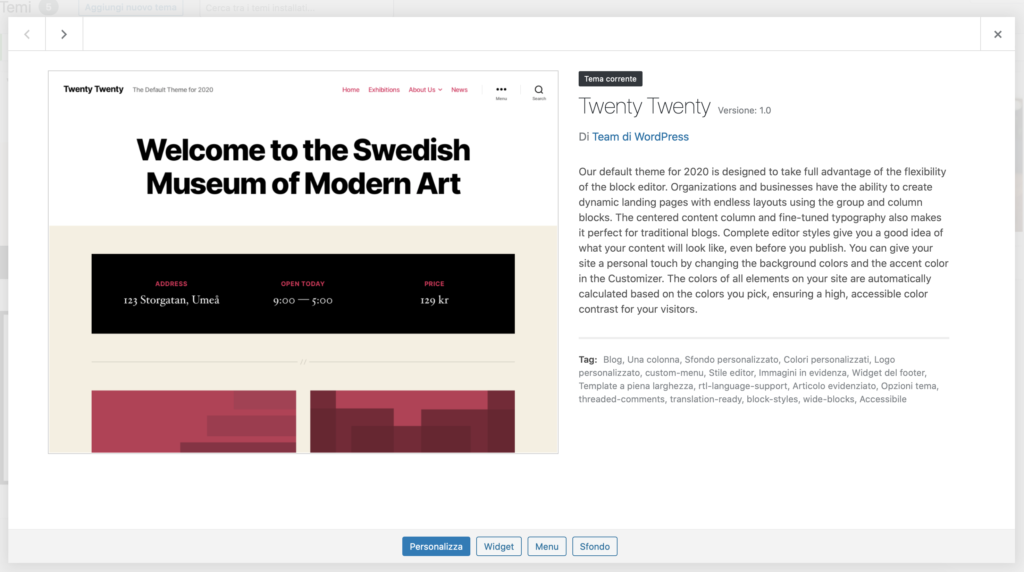 Nuovo tema wordpress twenty twenty